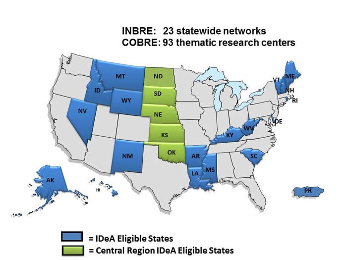 map of INBRE and COBRE networks and research centers