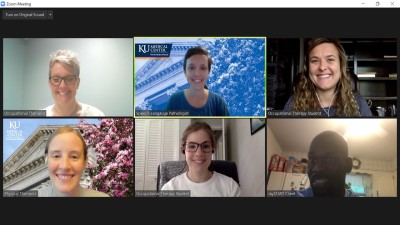 Screen shot of 6 people in video conference