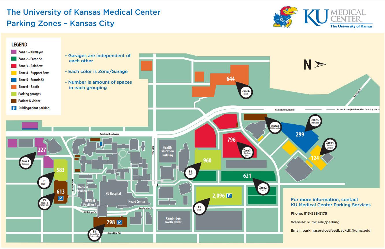 map of ku campus Parking Color Zone Maps Kumc Kansas City Campus map of ku campus